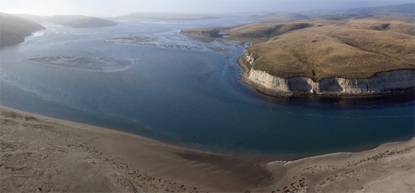 Aerial view of Drakes Estero, which became wilderness on December 4th, from sand spit at inlet. Photo credit to David Zinniker.