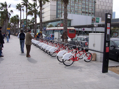 One of 400 Bike Sharing Stations in Barcelona