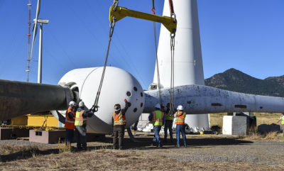 Wind turbine installation in Colorado. Photo credit: Dennis Schroeder, NREL